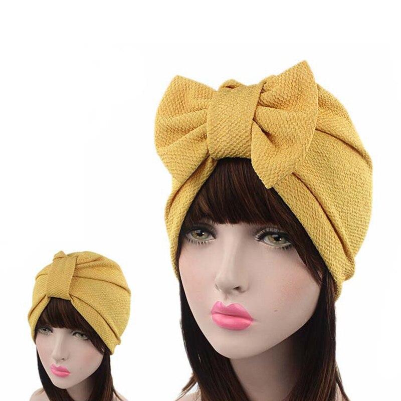 Мусульманская однотонная шапка женская с большим бантом стрейч хиджаб тюрбан шляпа шарф головной убор шапочка при химиотерапии бантики, аксессуары для волос