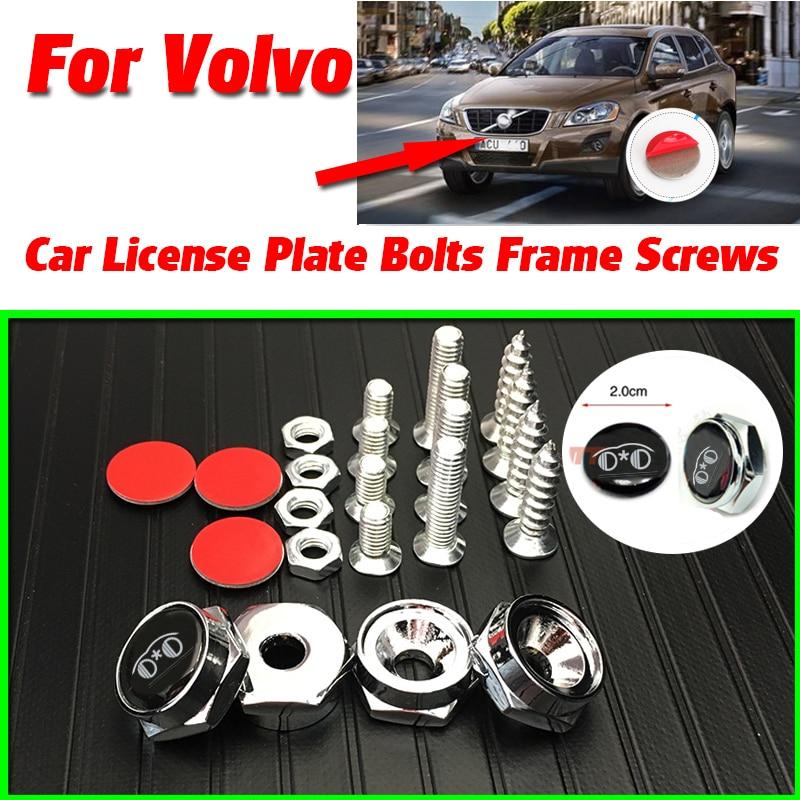 Tornillos para marcos de matrícula de coche, calcomanías adhesivas para VOLVO S60L S80L XC60 S60 V60 V40 C30 S80 XC90 C70 P1800