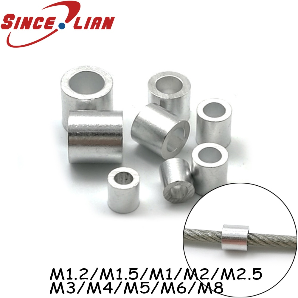 100 stücke Runde Aluminium Draht Klemmen Karte Köpfe Draht Schlösser M1.2 M1.5 M1 M2 M2.5 M3 M4 M5 M6 M8 aluminium Kabel Crimps Hülse
