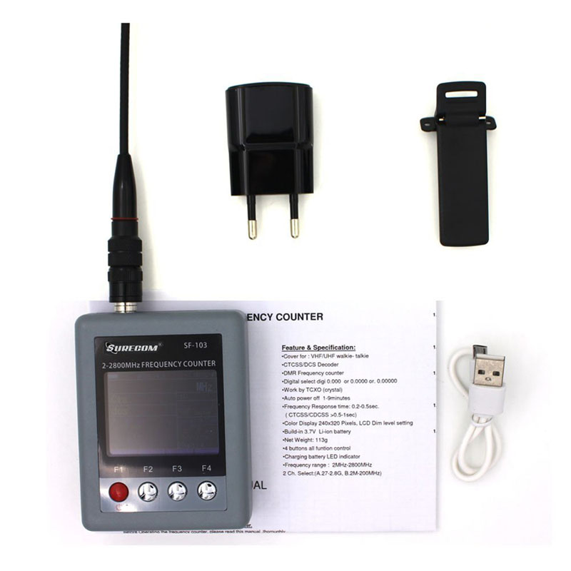 Contador de frecuencia portátil SURECOM SF-103 DMR Digital SF103 2MHz-200MHz/27MHz -2800MHz, contador de frecuencia CTCCSS/DCS Testable