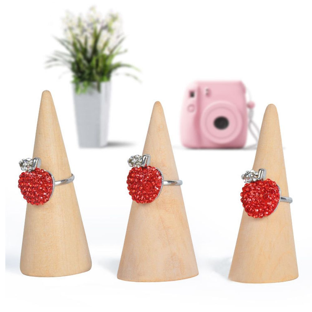 1 Uds organizador para presentación de joyas anillo de dedo soporte de madera organizador escaparate de almacenamiento en forma de cono Pantalla de anillo