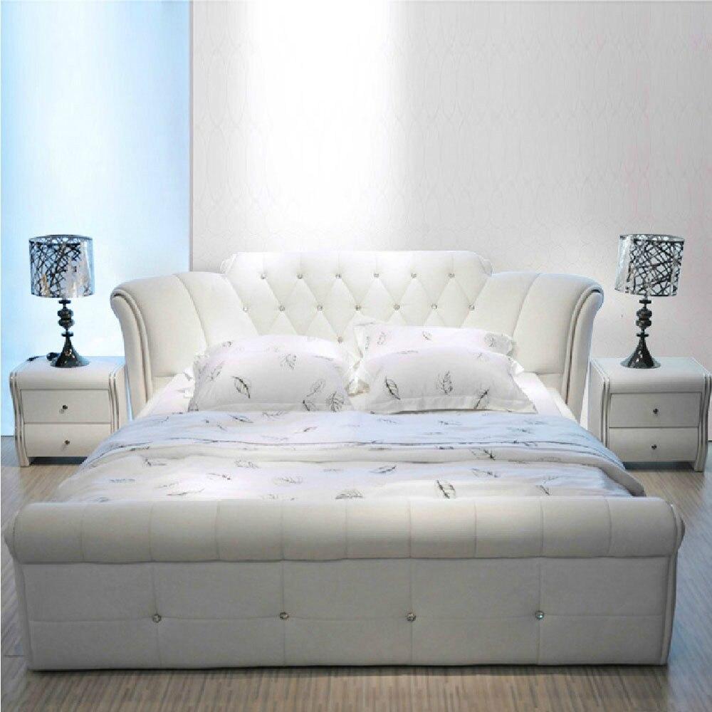 Cama de Cuero europeo blanca para dormitorio, 1,5 m, 1,8 m, n. ° CE-095