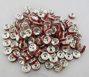 100 шт красные посеребренные Плоские Боковые Стразы рондели разделительные бусины 8 мм