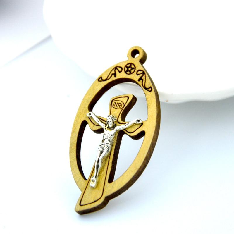 Cruz de madera cristiana, crucifijo Rood, Cruz redonda, Cordero de Dios, iglesia, capilla, Jesús, colgante, regalo de Cristo, Dios Jesu