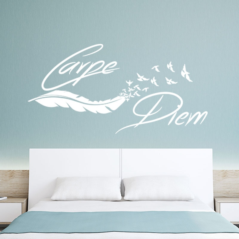 Sticker Citaat Carpe Diem Muur Decor Pluim Oiseaux Vinyl Walldecal Verwijderbare Wall Art Behang Woonkamer Home Decor Poster