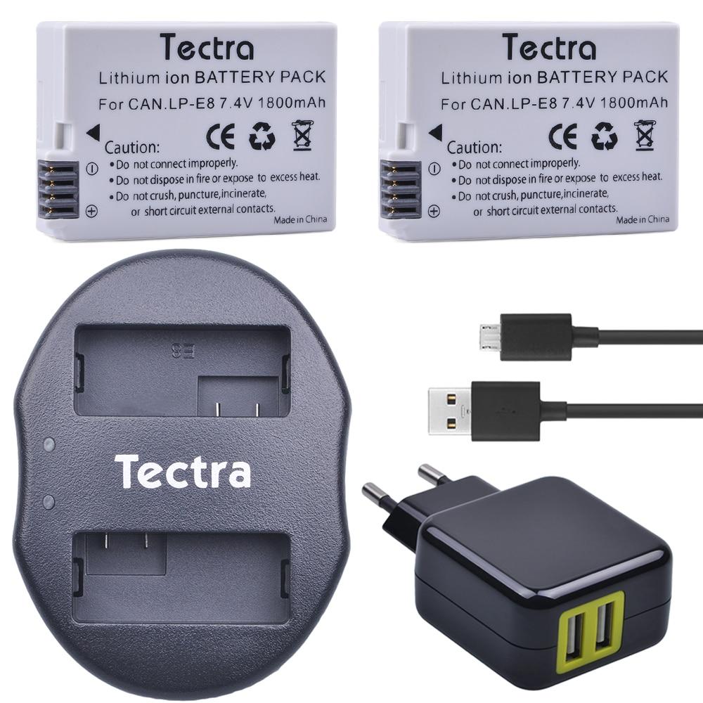 Tectra 2 uds LP-E8 LPE8 LP E8 batería de iones de litio...
