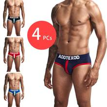 2019  Fashion Sexy Underwear Men Solid Underpants Cotton Male Panties Hot Sale Slip Cueca 4 Color Soft  Men Briefs Underwear