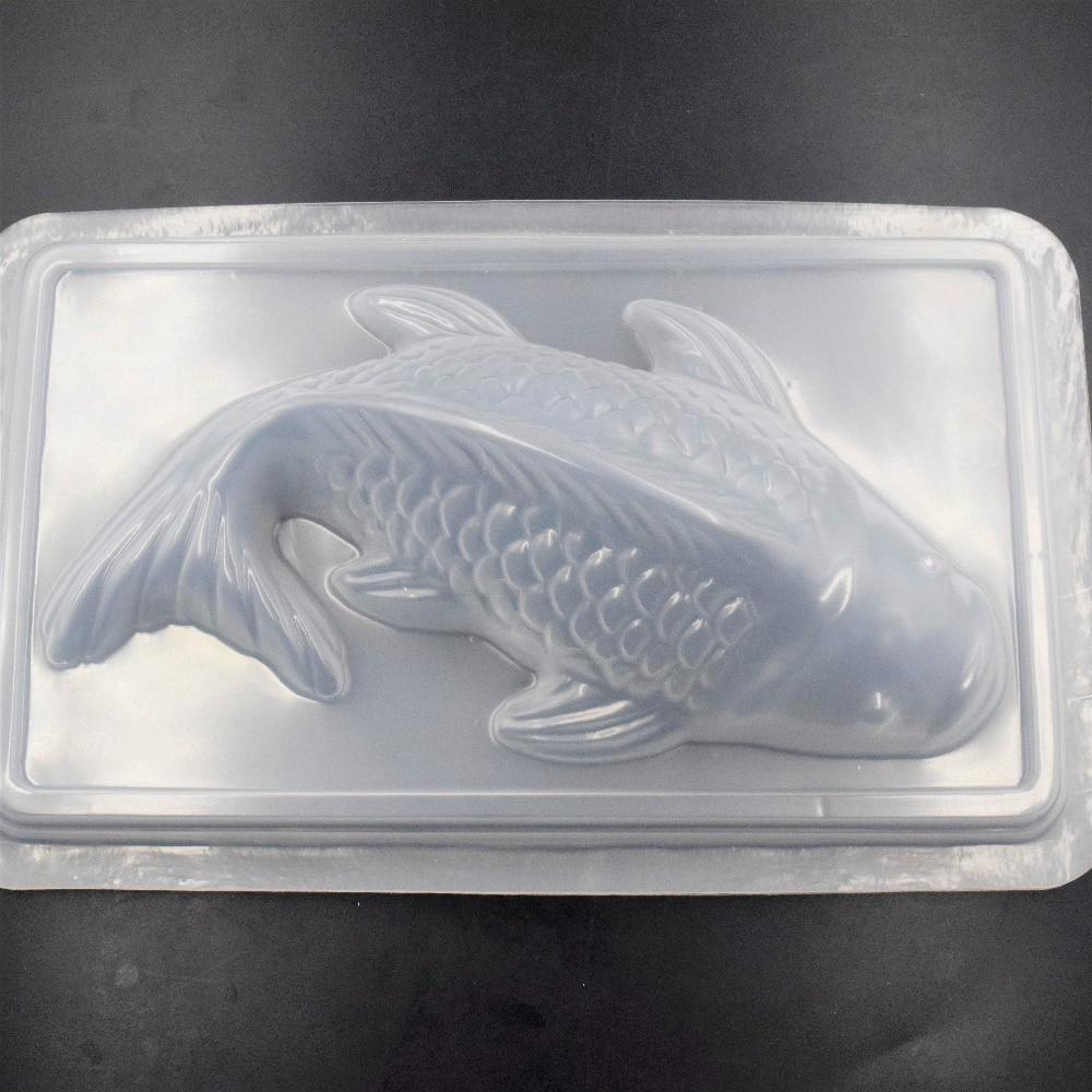DIY 3D Koi pescado carpas molde plástico jalea hecho a mano Sugarcraft molde pastel Pudding Chocolate molde hornear herramienta vajilla