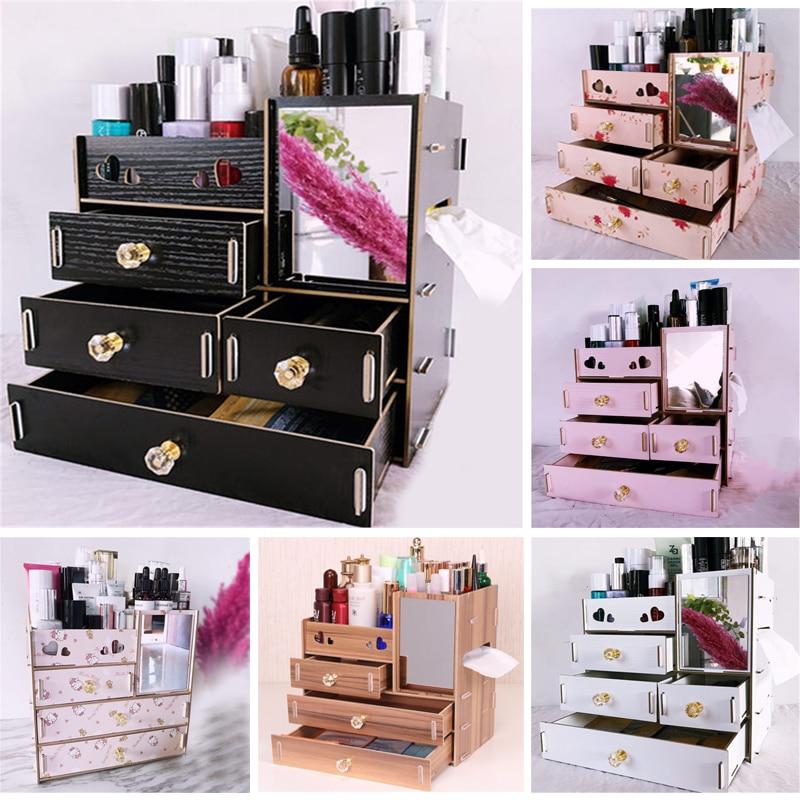 Recipiente de jóias gaveta de madeira organizador artesanal cosméticos caixa organizador de armazenamento de madeira diy caixa de armazenamento organizador de maquiagem 2019