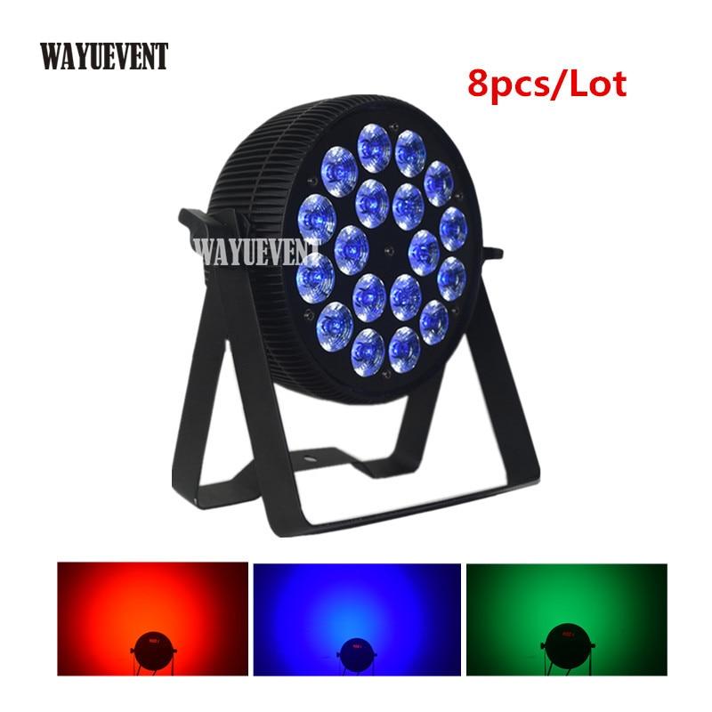 8 Uds LED Par 18x12 W RGBW 4IN1 cable Powercon 18x15W RGBWA lavado 5IN1 18x18W RGBWA lavado + + + controlador DMX Led Par plana Fiesta de DJ Luz de lavado