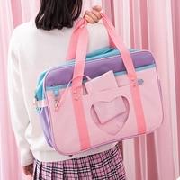 Женская Холщовая Сумка через плечо в японском школьном стиле, Повседневная вместительная сумочка-тоут, цвет РОЗОВЫЙ, школьные рюкзаки для д...