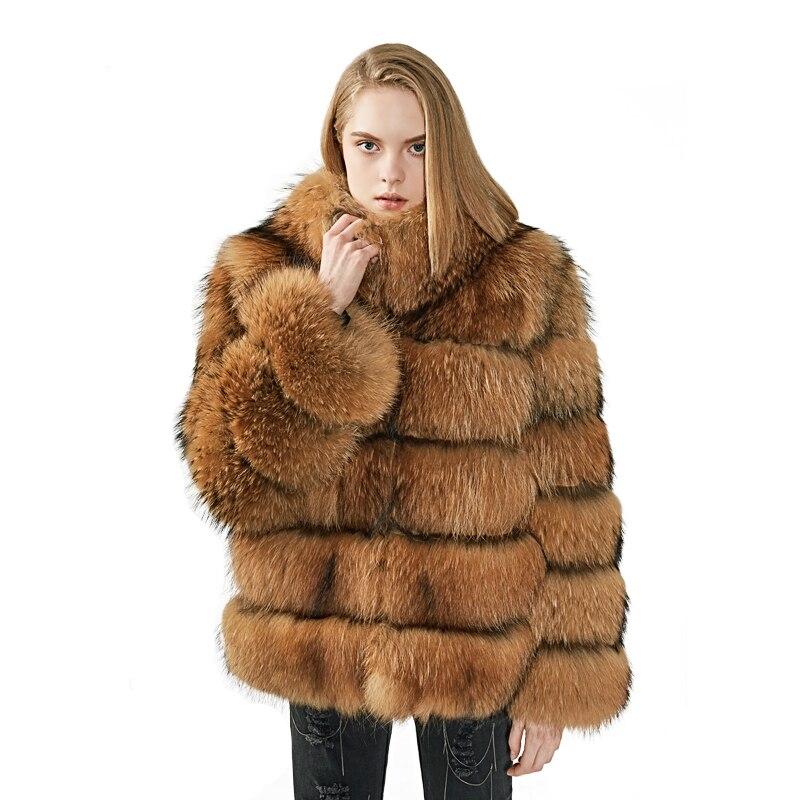 MAOMAOFUR-معطف فرو الراكون الأصلي للنساء ، جاكيت شتوي دافئ ، لون راكون طبيعي ، 100%
