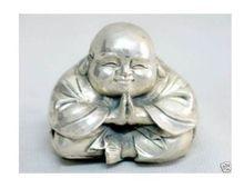 Estatua exquisita de plata China tibetana feliz estatuilla de Buda