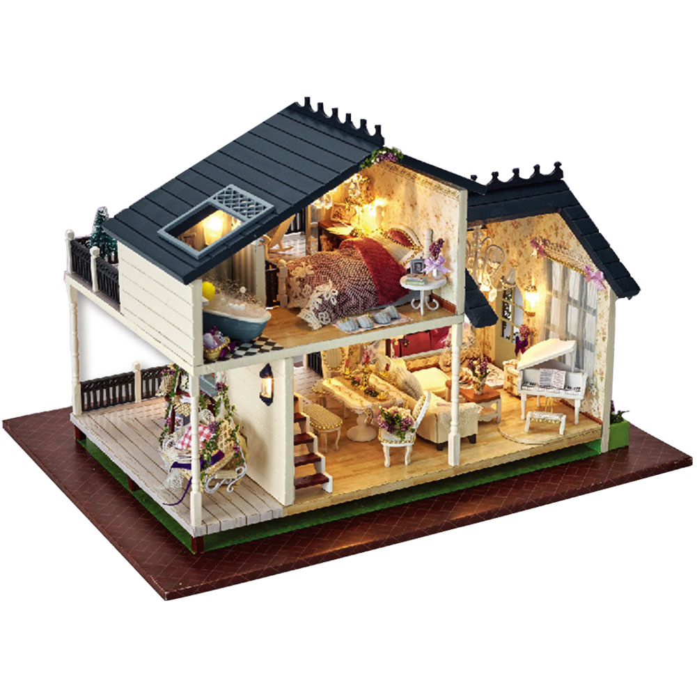 Manualidades de muebles ensamblados a mano DIY juguetes modelo de madera controlador de voz regalos caja de música muñeca casas miniatura Kit