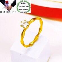 OMHXFC vente en gros mode européenne femme fille fête mariée anniversaire mariage cadeau vague ronde blanc AAA Zircon 18KT bague en or EJ40