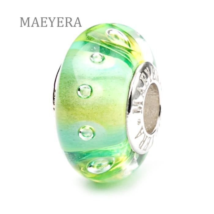 MAEYERA auténtica Plata de Ley 925 Color burbujas Murano cuentas de cristal DIY encanto regalo mujer joyería 920153