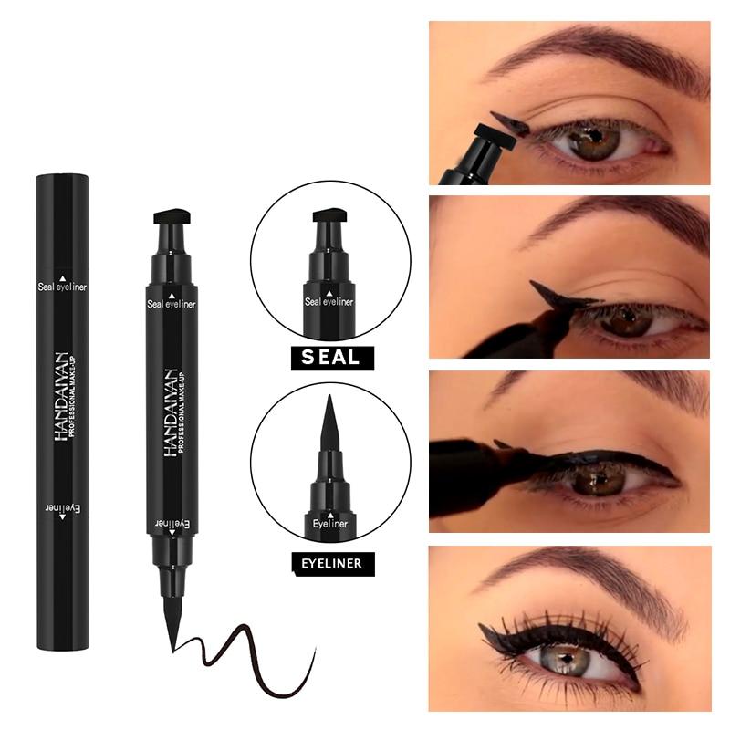 HANDAIYAN Black Black Double-headed Liquid Eyeliner Stamp Eye Wing Long Lasting Black Eye Liner Eye Pencil Cosmetic Makeup Tools