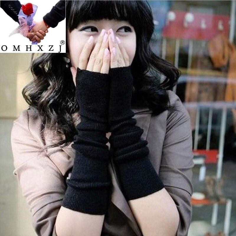 OMH, venta al por mayor, guantes y mitones tejidos de algodón de manga larga, cálidos, para invierno, para mujer y Chica, en colores sólidos negros, novedad, ST40