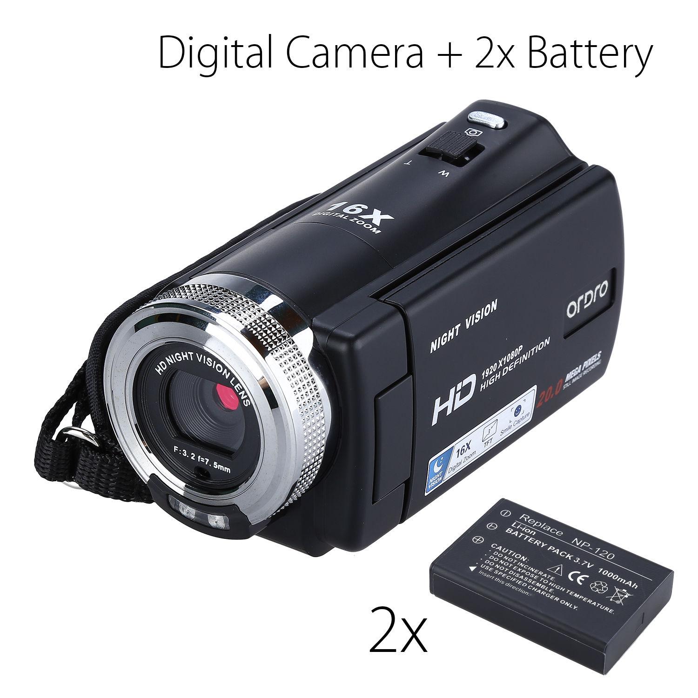 "ORDRO HDV-V12 3.0"" LCD 1080P FHD Digital Camera Camcorder 16x Zoom DVR IR Night Vision CMOS Sensor Microphone+2pcs Battery"