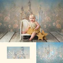 Fotografia pano de fundo do bebê recém-nascido pintura flores castelo festa de aniversário fundo crianças backdrops photo studio adereços