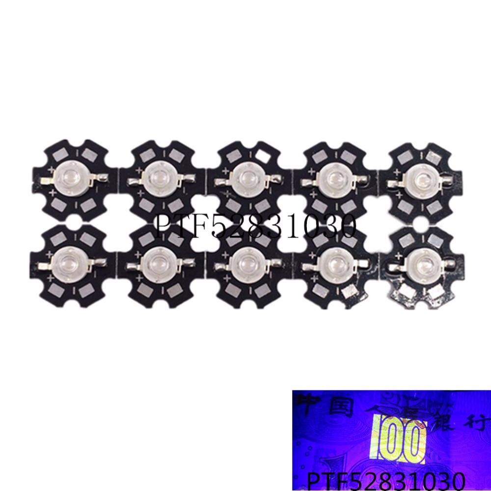 100pcs Freeshipping!  3W 395NM UV LED /Ultra Violet High Power LED Bead Emitter 395-400NM led 3w chip uv led diode