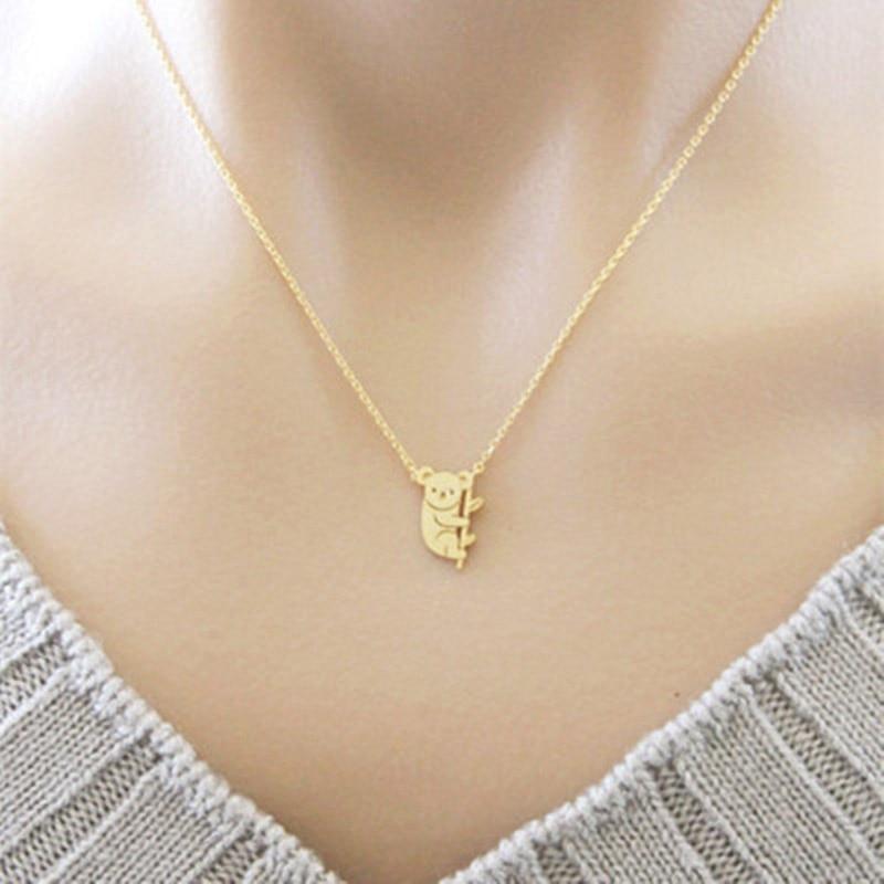 Collar de cadena de Color dorado y plateado para mujer Koala Bear Collar COLGANTE elegante joyería amigos regalos de fiesta joyería Collar Kolye