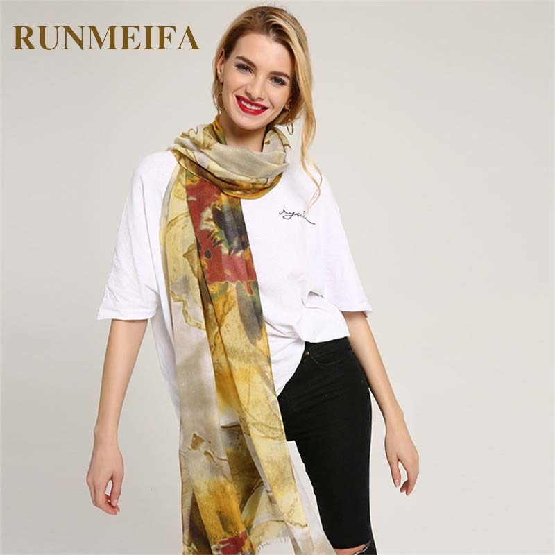 [RUNMEIFA] High Quality Women Long Neck Silk Scarf Large Shawl Flowers Pattern Cotton Printing Scarves Female Fashion Scarf Wrap