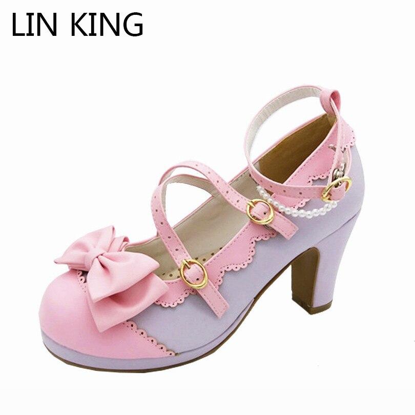 Zapatos de princesa Kawaii para primavera y otoño con punta redonda para mujer de LIN KING, zapatos de tacón alto para mujer