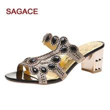 2019 été sandales chaussures pour femmes dames bohême épais cristal Roma pantoufle sandales Peep orteil chaussures Sandalia Feminina Mujer