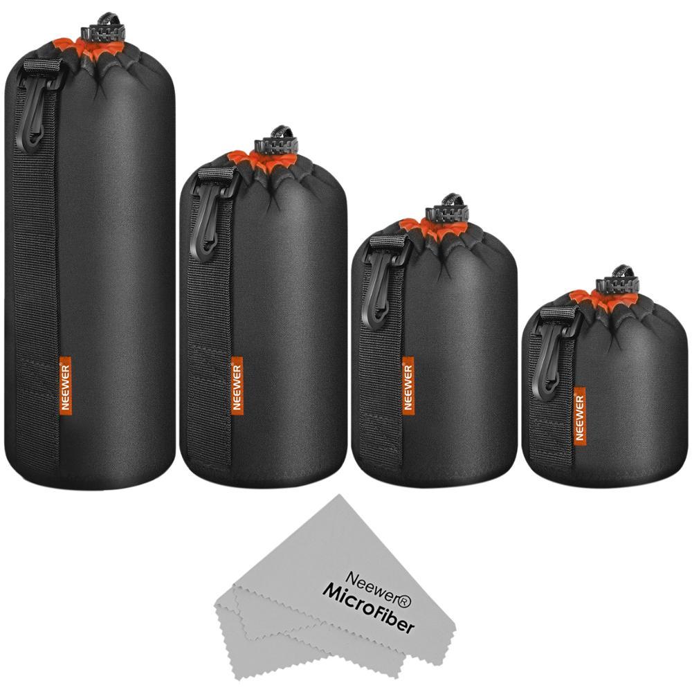 Чехол для объектива камеры Neewer (4 комплекта, 4 размера)-Толстая Защитная сумка для объектива Sony, Canon, Nikon, Pentax, Olympus, Panasonic DSLR
