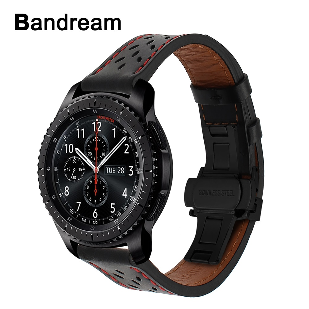 Italy Genuine Calf Leather Watchband for Samsung Gear S3 Galaxy Watch 46mm Quick Release Band Steel Butterfly Buckle Wrist Strap
