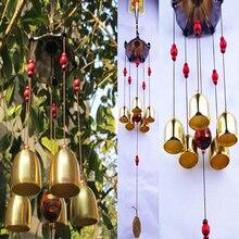 Cuivre 5 cloches carillons éoliens pentagone pavillon Feng Shui décorations carillons éoliens pour la maison en plein air jardin Yard mascotte cadeaux
