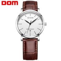 Brand Luxury Men's Watch Date Day Genuine Leather Strap Sport Watches Male Casual Quartz Watch Men Wristwatch Famous DOM Clock