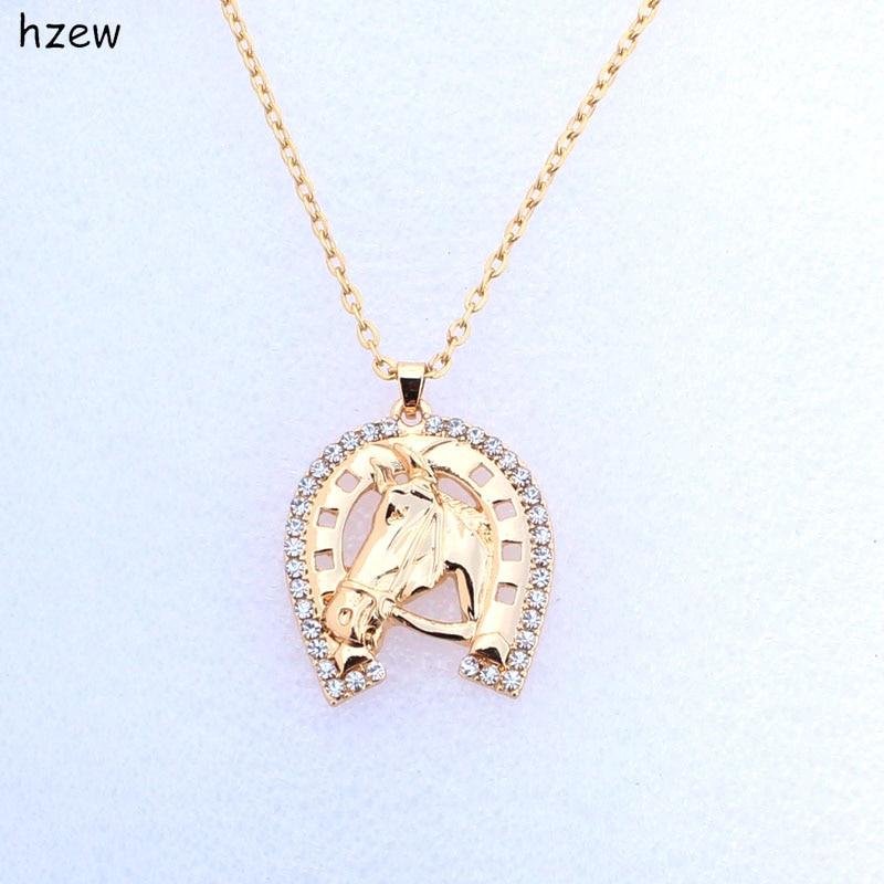 Модное ожерелье hzew в форме подковы с кристаллами, брендовые ожерелья с лошадью, женская бижутерия, подарочное ожерелье с подвеской