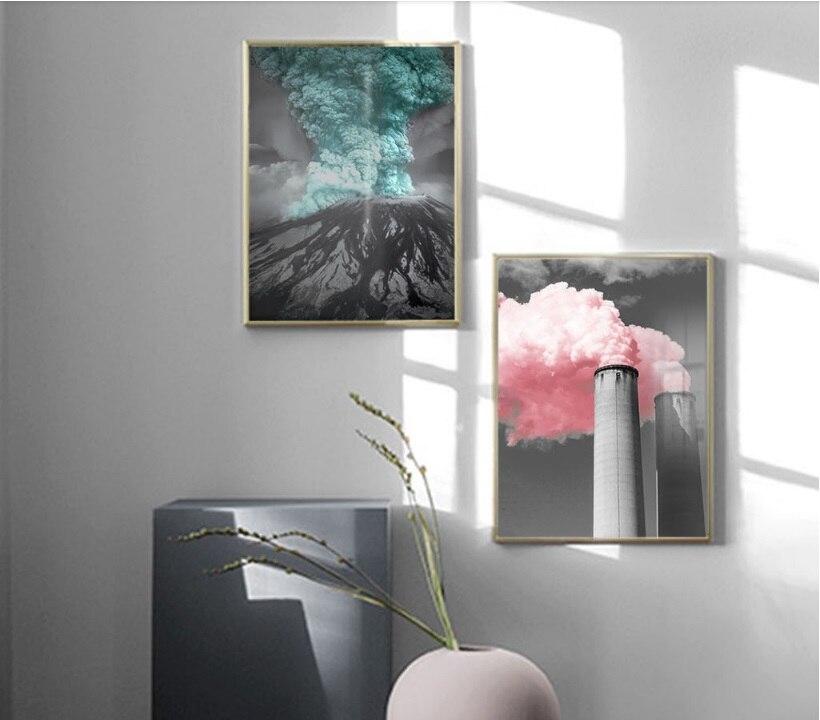 Pinturas nórdicas creativas de Color de chimenea volcánica, pinturas de humo, arte de pared imprimir imagen, pintura en lienzo, póster para sala de estar sin marco