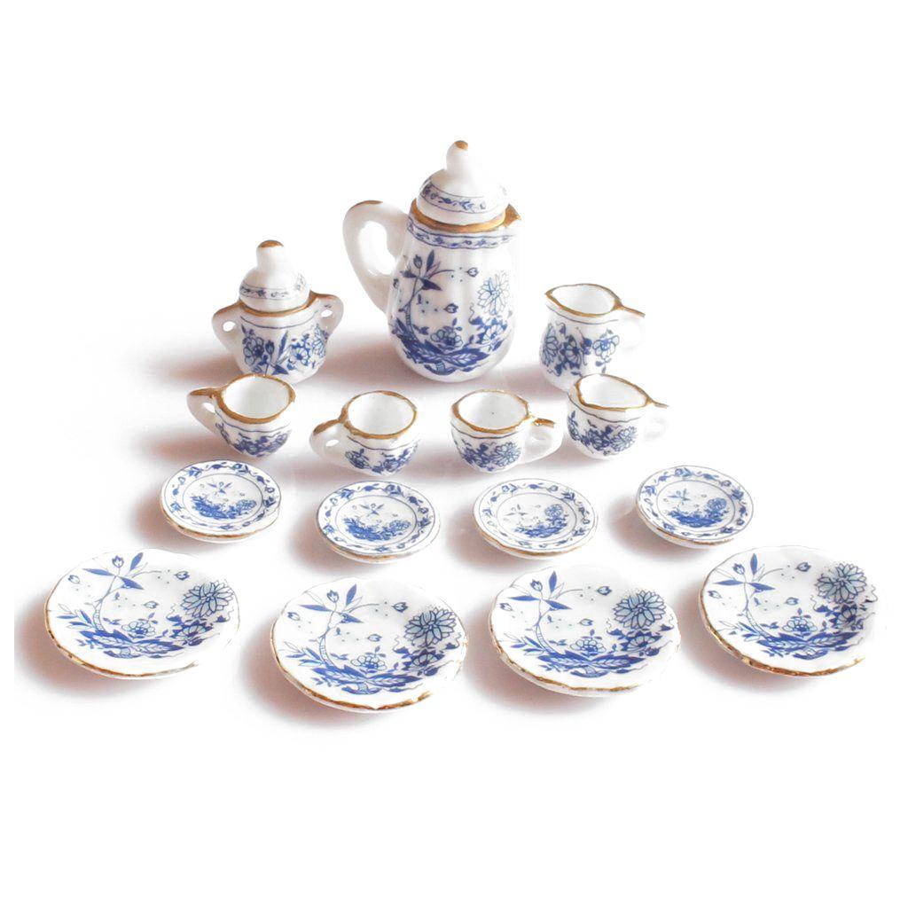 New 1/12th Dining Ware China Ceramic Tea Set Dolls House Miniatures Blue Flower