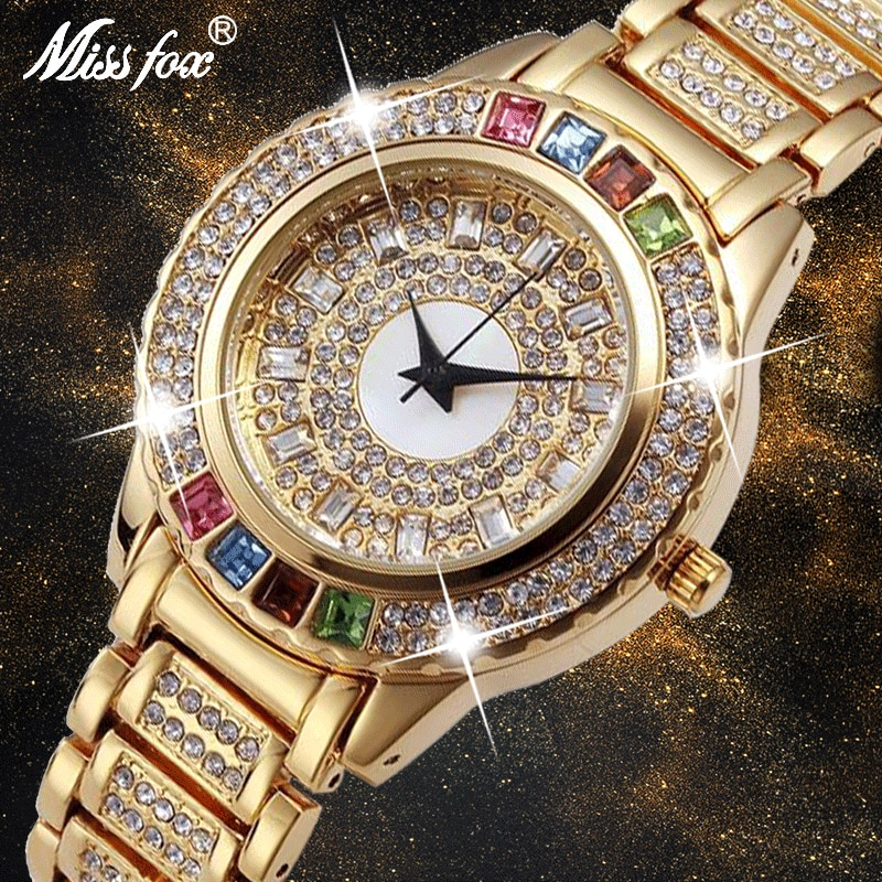 Missfox 숙녀 골드 파티 시계 여성 다이아몬드 패션 중국 시계 럭셔리 브랜드 황금 시계 ar 여성 석영 손목 시계