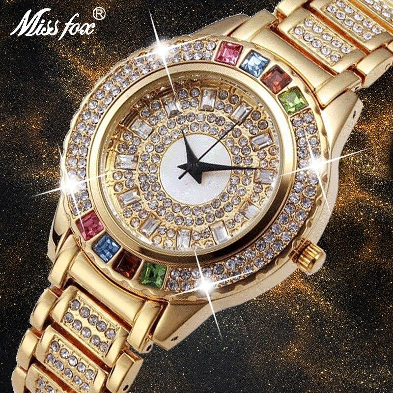 Relojes dorados fiesta MISSFOX para mujer, relojes de moda de diamante de China, reloj dorado de marca de lujo para Ar reloj de pulsera de cuarzo femenino