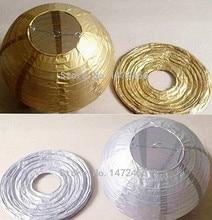 Free Shoping 6inch (15cm ) Gold/Silver 5pc Paper Lanterns Lanterns/Balls Wedding Party Home Yard Garden Fiesta Hanging Decor