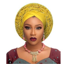 Serre-tête africain nigérian   Serre-tête avec perles, auto gele africain, gele, pour femme, fête de mariage