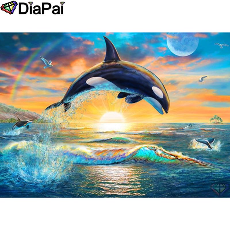 "DIAPAI diamante pintura ""Animal killer whale"" DIY 5D diamante bordado venta completa de diamantes de imitación punto de cruz decoración del hogar a26466"