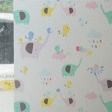Film de traitement de fenêtre statique   Pour enfants, motif éléphant coloré, pour chambre denfants, Film en verre givré, pour chambre denfants, sticker r90 X300CM