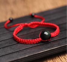 Bracelet en corde rouge avec perles obsidienne noires pour les yeux de larc-en-ciel, transfert de billes, chaîne en corde gratuite, bijoux en cristal mauvais
