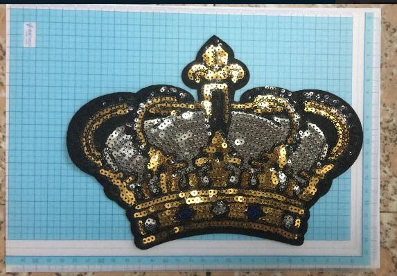 DZ  1pc Flash Sticker Crown 17.8*22.5 cm Cute Decorative Garment Sewing Material Decorative Garment