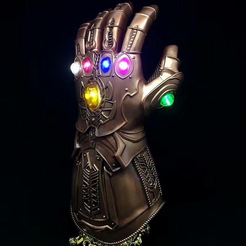 Thanos luz LED guante guantes accesorio de vestuario Cosplay de Material de PVC de un tamaño para la mayoría de los adultos