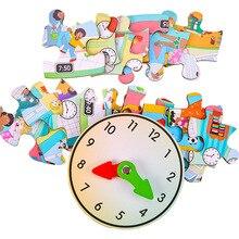 الحياة اليومية ساعة مواسم الوقت جدول صندوق اللغز ألعاب خشبية للأطفال الاطفال التعلم التعليمية الألغاز الدماغ هدية