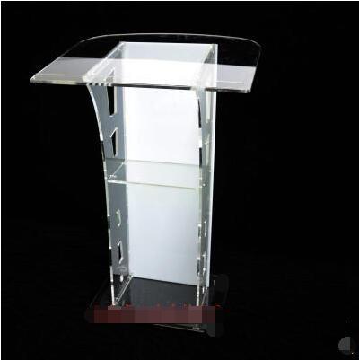 Podio de cristal podio de acrílico para recepción de recepción Escritorio de bienvenida mesa de conferencia