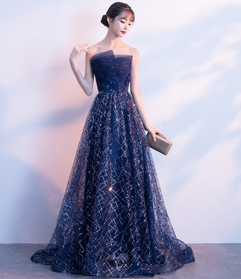 2019 New Strapless Navy Blue Long Evening Dress Vintage Prom Party Gowns Vestido De Festa Off The Shoulder Cheap Evening Gowns