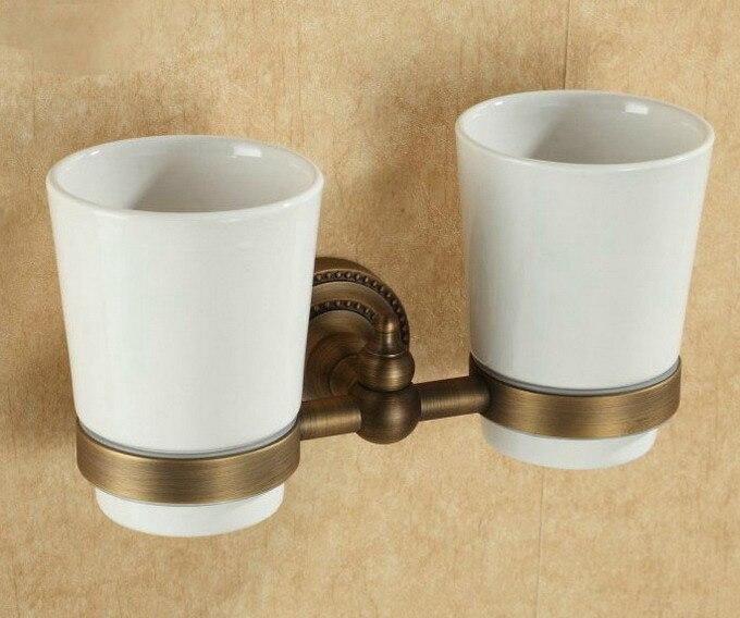 Montado en la pared Retro Vintage latón antiguo baño cepillo de dientes titular Set baño accesorio doble Taza de cerámica mba088