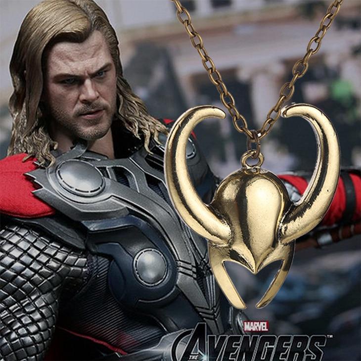 Thor 2 the dark world-قلادة خوذة لوكي ، قلادة عتيقة ، مجوهرات ذهبية عتيقة للرجال والنساء ، بالجملة